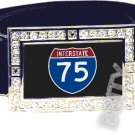 I-75 INTERSTATE 75 SHIELD SYMBOL CZ GLOW RHINESTONE BELT BUCKLE