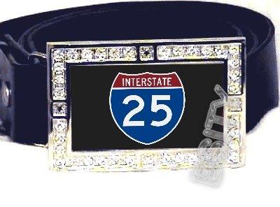 I-25 INTERSTATE 25 SHIELD SYMBOL CZ GLOW RHINESTONE BELT BUCKLE