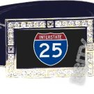 I-25 INTERSTATE 25 SHIELD SYMBOL CZ GLOW RHINESTONE BELT BUCKLE