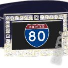 I-80 INTERSTATE 80 SHIELD SYMBOL CZ GLOW RHINESTONE BELT BUCKLE