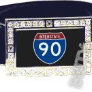 I-90 INTERSTATE 90 SHIELD SYMBOL CZ GLOW RHINESTONE BELT BUCKLE