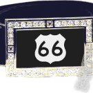 ROUTE 66 SHIELD SYMBOL CZ GLOW RHINESTONE BELT BUCKLE