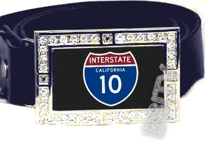 I-10 INTERSTATE 10 CALIFORNIA SHIELD SYMBOL CZ GLOW RHINESTONE BELT BUCKLE