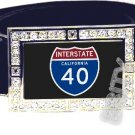 I-40 INTERSTATE 40 CA SHIELD SYMBOL CZ GLOW RHINESTONE BELT BUCKLE
