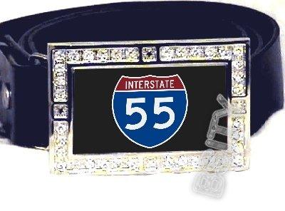 I-55 INTERSTATE 55 SHIELD SYMBOL CZ GLOW RHINESTONE BELT BUCKLE