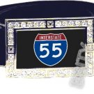 I-55 INTERSTATE 55 SHIELD SYMBOL CZ GLOW RHINESTONE BELT BUCKLE