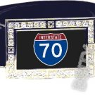 I-70 INTERSTATE 70 SHIELD SYMBOL CZ GLOW RHINESTONE BELT BUCKLE