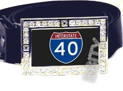 I-40 INTERSTATE 40 SHIELD SYMBOL CZ GLOW RHINESTONE BELT BUCKLE