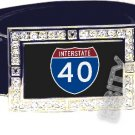 I-40 INTERSTATE 40 SHIELD SYMBOL CZ GLOW RHINESTONE BELT BUCKLE