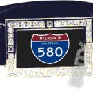 I-580 INTERSTATE 580 SHIELD SYMBOL CZ GLOW RHINESTONE BELT BUCKLE