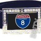 I-8 INTERSTATE 8 CA SHIELD SYMBOL CZ GLOW RHINESTONE BELT BUCKLE