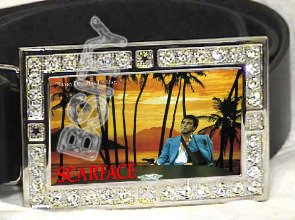 SCARFACE TONY MONTANA HIP HOP ICED OUT BLING CZ CHARM BELT BUCKLE