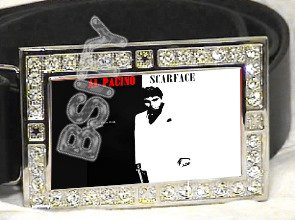SCARFACE AL PACINO ICED OUT BLING CZ CHARM BELT BUCKLE