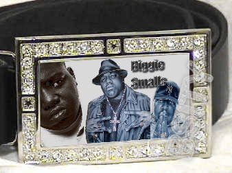 BIGGIE SMALLS|BIG POPPA| PHOTO ICED OUT BLING CZ CHARM BELT BUCKLE