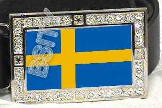 SWEDEN SWEDISH FLAG BLING ICED OUT CZ -FREE BELT- BUCKLE