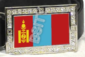 MONGOLIA MONGOLIAN FLAG BLING ICED OUT CZ -FREE BELT- BUCKLE