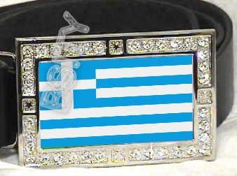 GREECE GREEK FLAG BLING DARK CZ -FREE BELT- BUCKLE