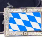 BAVARIA BAVARIAN FLAG BLING DARK CZ -FREE BELT- BUCKLE