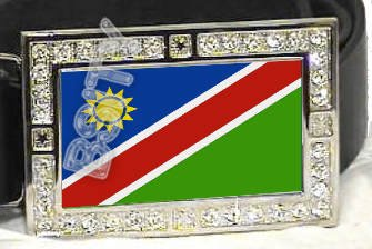 NAMIBIA NAMIBIAN FLAG BLING ICED OUT CZ -FREE BELT- BUCKLE