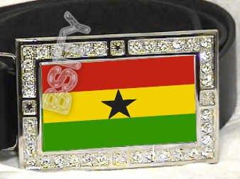 GHANA FLAG BLING DARK CZ -FREE BELT- BUCKLE