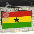 GHANA FLAG BLING DARK CZ -FREE BELT- BUCKLE