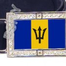 Barbadian BARBADOS FLAG BLING DARK CZ -FREE BELT- BUCKLE