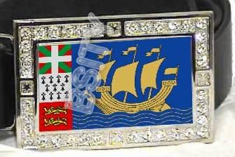 Saint Pierre Miquelon FLAG BLING ICED OUT CZ -FREE BELT- BUCKLE