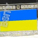 UKRAINE Ukrainian FLAG BLING ICED OUT CZ -FREE BELT- BUCKLE
