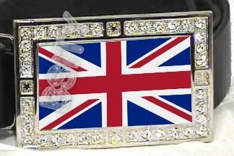 UNITED KINGDOM BRITISH FLAG BLING ICED OUT CZ -FREE BELT- BUCKLE
