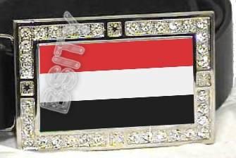 YEMEN YEMENESE FLAG BLING ICED OUT CZ -FREE BELT- BUCKLE