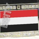 YEMEN YEMENESE FLAG BLING ICED OUT CZ -FREE BELT- BUCKLE