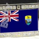 Saint Helenian HELENA FLAG BLING ICED OUT CZ -FREE BELT- BUCKLE