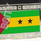 SAO TOME PRINCIPE FLAG BLING ICED OUT CZ -FREE BELT- BUCKLE