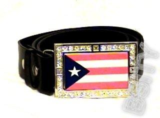 PUERTO RICO RICAN FLAG GLOW CHARM CZ -FREE BELT- BUCKLE