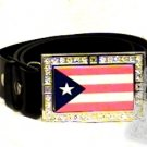 PUERTO RICO RICAN FLAG GLOW CHARM CZ -FREE BELT- BUCKLE