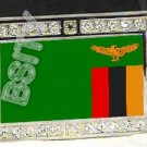ZAMBIA ZAMBIAN FLAG BLING ICED OUT CZ -FREE BELT- BUCKLE