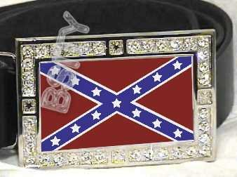 CONFEDERATE REBEL FLAG BLING ICED OUT CZ -FREE BELT- BUCKLE