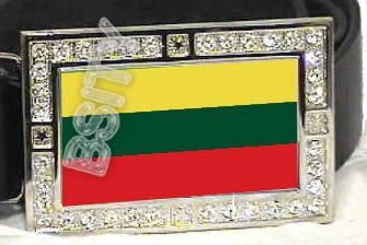 LITHUANIA Lithuanian FLAG BLING DARK CZ -FREE BELT- BUCKLE