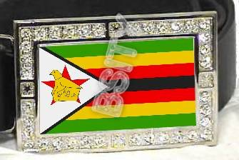 ZIMBABWE Zimbabwean FLAG BLING ICED OUT CZ -FREE BELT- BUCKLE