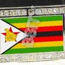 ZIMBABWE Zimbabwean FLAG BLING ICED OUT CZ -FREE BELT- BUCKLE