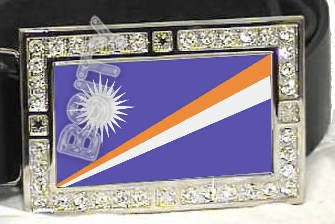 MARSHALL ISLANDS FLAG BLING ICED OUT CZ -FREE BELT- BUCKLE