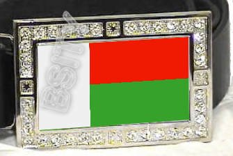 MADAGASCAR Malagasy FLAG BLING ICED OUT CZ -FREE BELT- BUCKLE