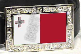 MALTA MALTESE FLAG BLING ICED OUT CZ -FREE BELT- BUCKLE