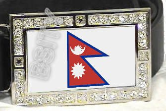 NEPAL NEPALESE FLAG BLING ICED OUT CZ -FREE BELT- BUCKLE