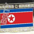 NORTH KOREA KOREAN FLAG BLING DARK CZ -FREE BELT- BUCKLE