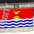 KIRIBATI Gilbertese FLAG BLING DARK CZ -FREE BELT- BUCKLE