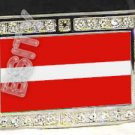 LATVIA Latvian FLAG BLING DARK CZ -FREE BELT- BUCKLE
