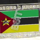 MOZAMBIQUE Mozambican FLAG BLING ICED OUT CZ -FREE BELT- BUCKLE