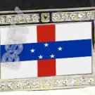 NETHERLANDS ANTILLE FLAG BLING ICED OUT CZ -FREE BELT- BUCKLE