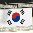 SOUTH KOREA KOREAN FLAG BLING DARK CZ -FREE BELT- BUCKLE